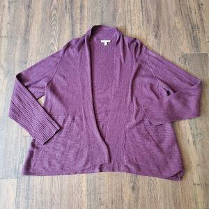Eileen Fisher Plus Size Purple Open Front Cardigan